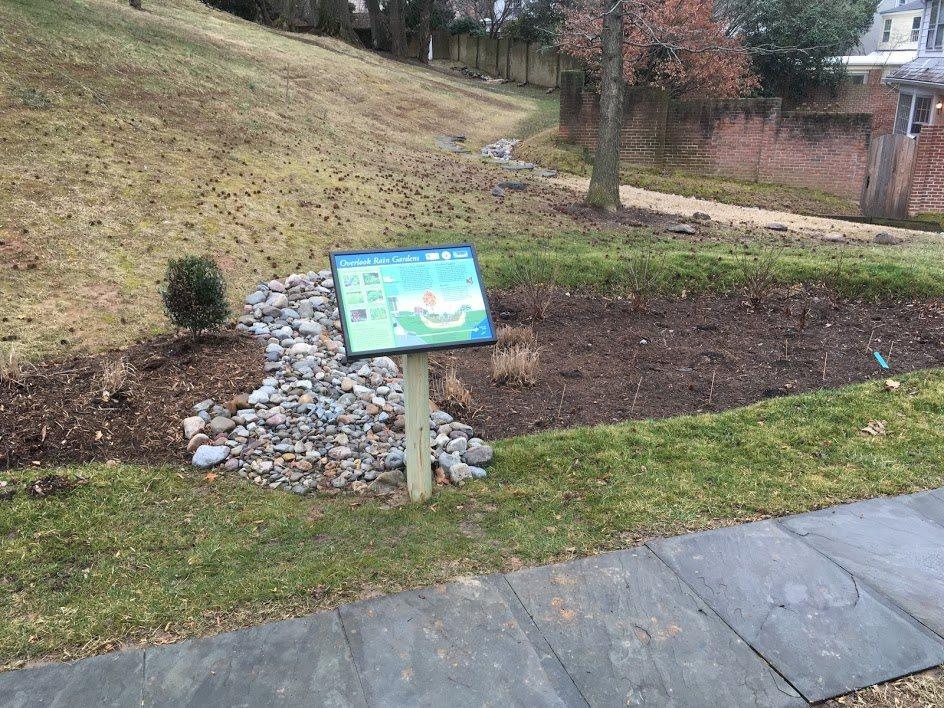 Overlook rain garden sign